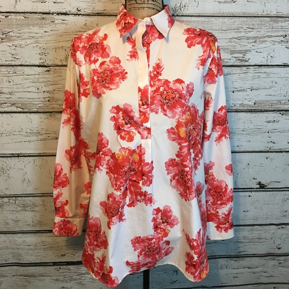 Land's End White Red Floral Blouse size 12